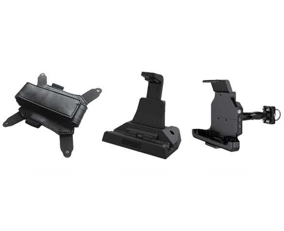 UA-80 Rugged Tablet with Hand Strap, charging dock and vehicle dock