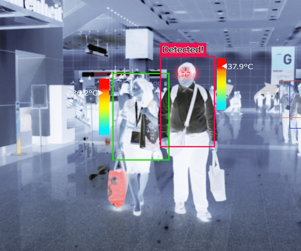 AI system identifying people and scanning for body temperature