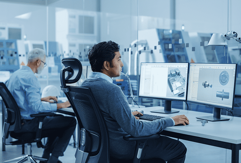Engineers designing custom computer components