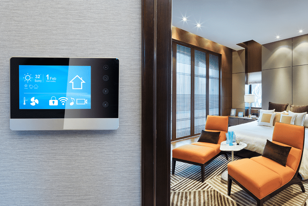 Custom smart controller installed to home wall to automate house equipment