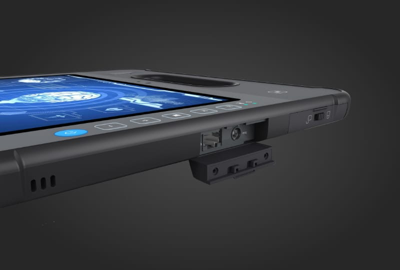 MD-100 side view showing port covered for industrial design and IP ratings as an industrial grade rugged tablet pc platform