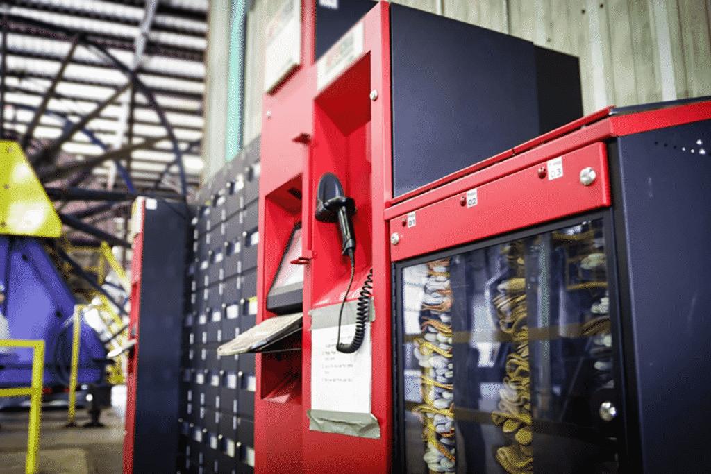 Parts vending machine on industrial shop floor