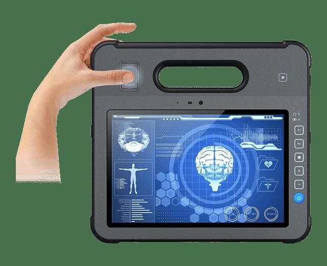 Fingerprint reader integrated into rugged tablet pc