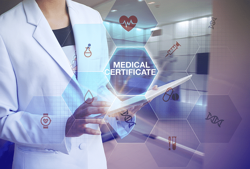 Tablet with medical certificate and medical icons