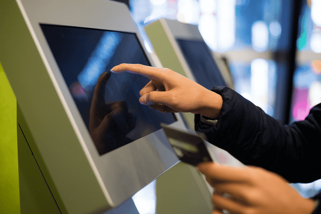 Touch screen self service kiosk with payment option