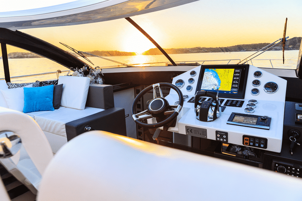 Boat installed with touchscreen controller for entertainment and equipment sensors
