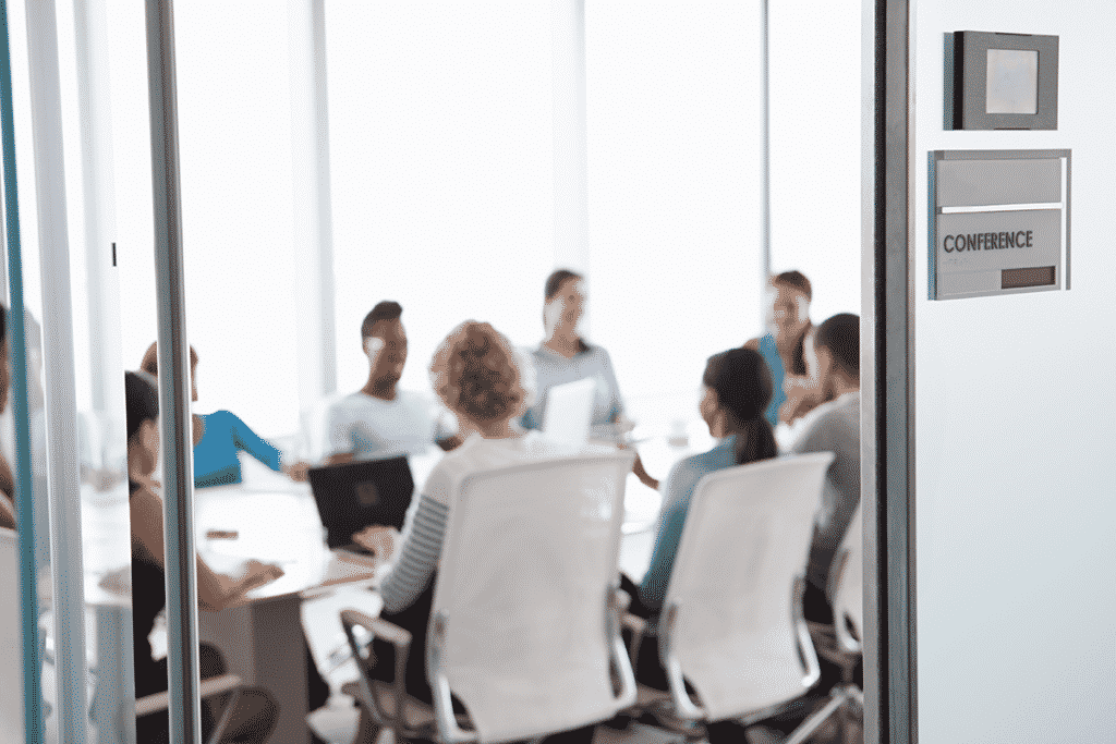 Conference room in office building during meeting