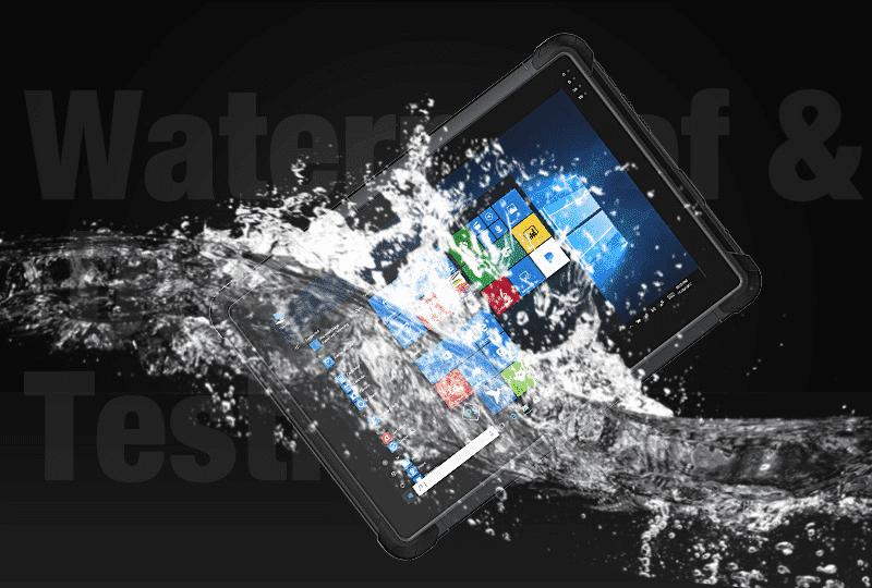 UR-100 Tablet Dropped in Water to Demonstrate Waterproofing