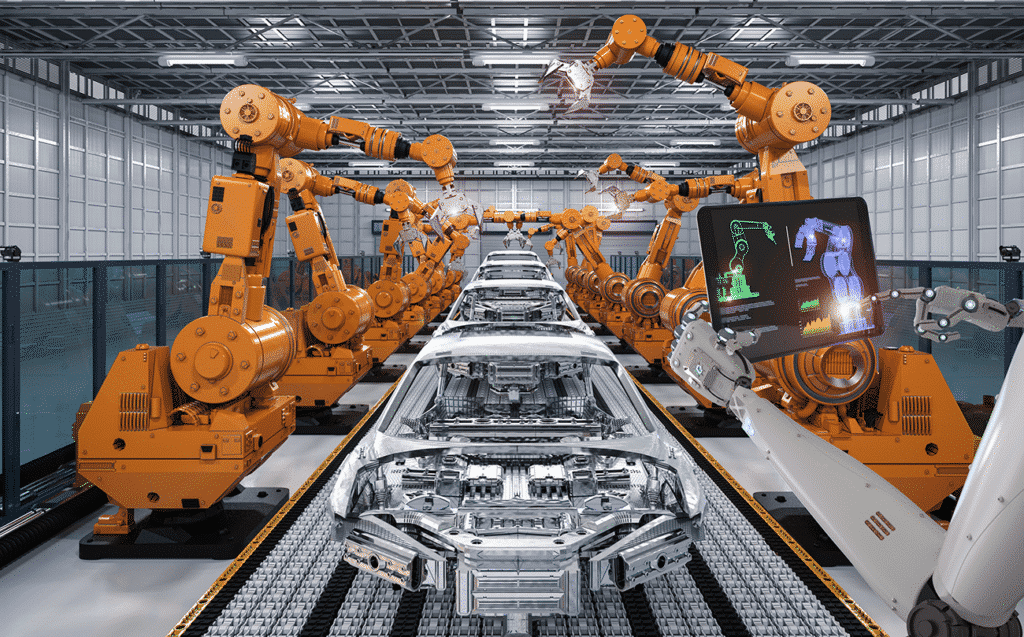 Assembly line of robotic arms in a manufacturing environment