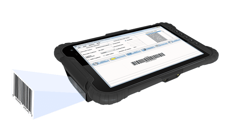 Industrial rugged tablet PC with integrated barcode scanner with built-in android