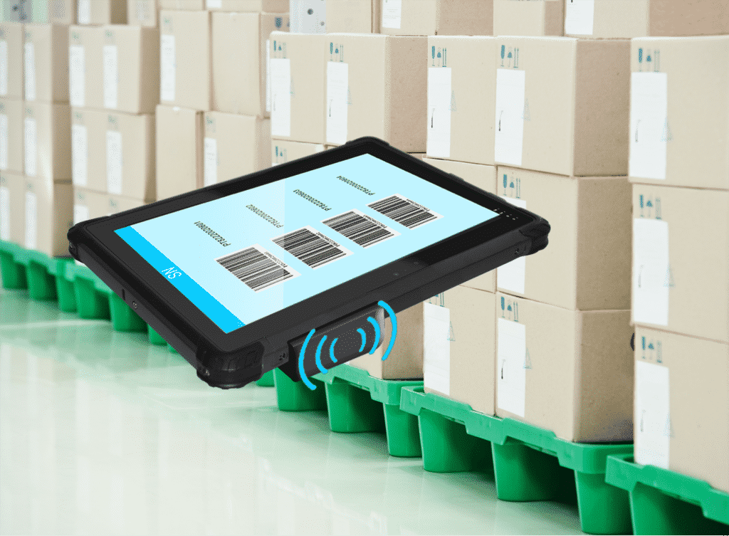 UR-100 Rugged Windows Tablet PC with Integrated NFC RFID Reader scanning boxes in a warehouse for inventory