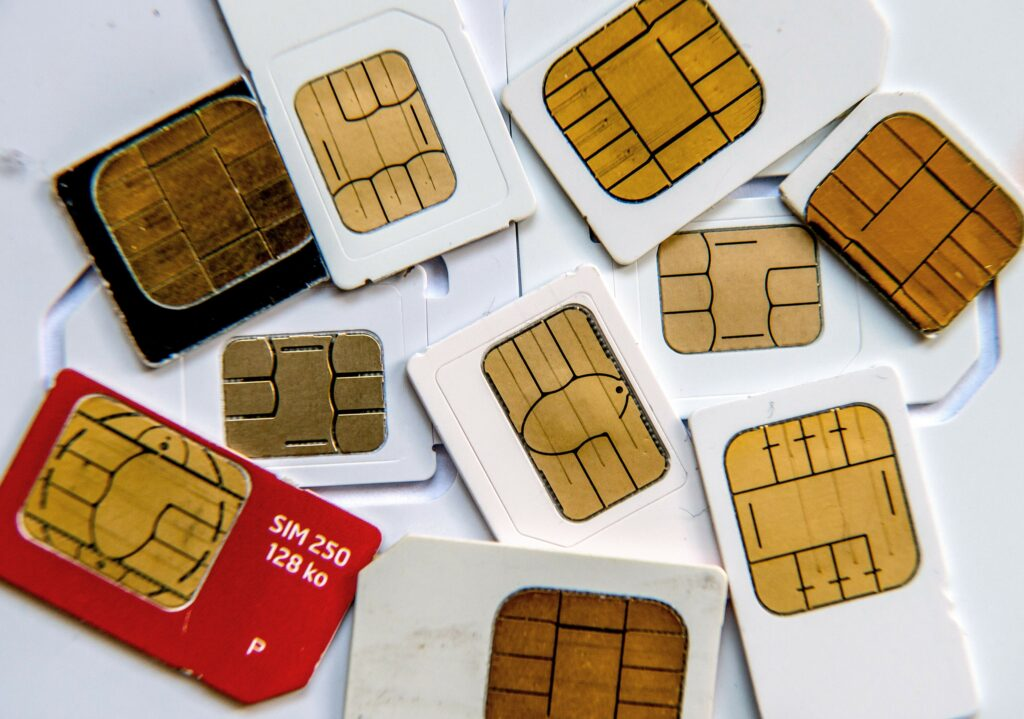 Micro SIM Smart Cards with various contact point patterns.
